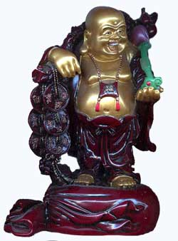 Laughing Buddha holding Ruyi, the Granter Of Wishes