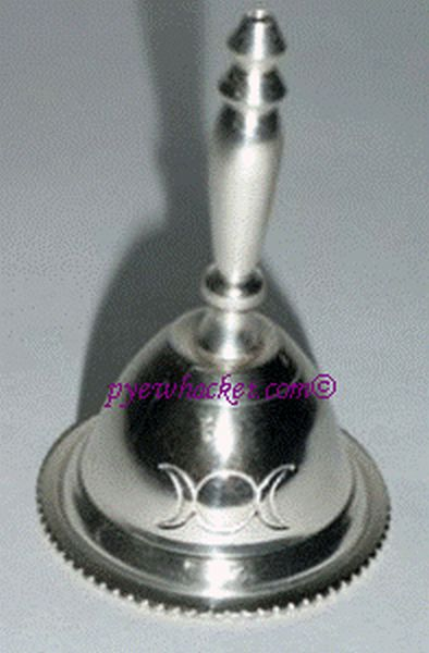 Silver Bell With Triple Goddess Crescent Moon Symbol 1395