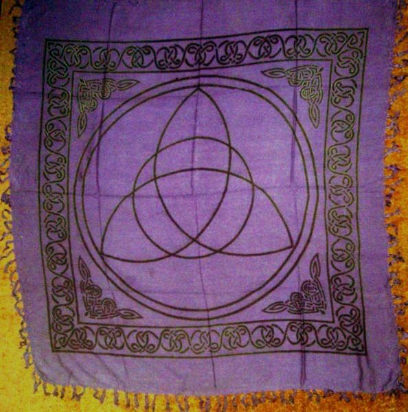 "Charmed Triquetra Altar Cloth Throw Hanging 36"" x 36"" Purple"
