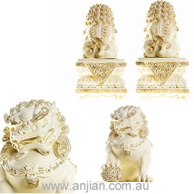 Temple Lion Pair On Pedestal Ivory Finish
